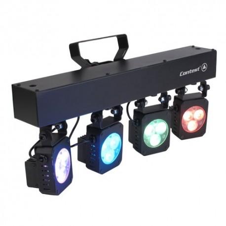 Rampe de quatre projecteurs à LEDs tricolores 3W