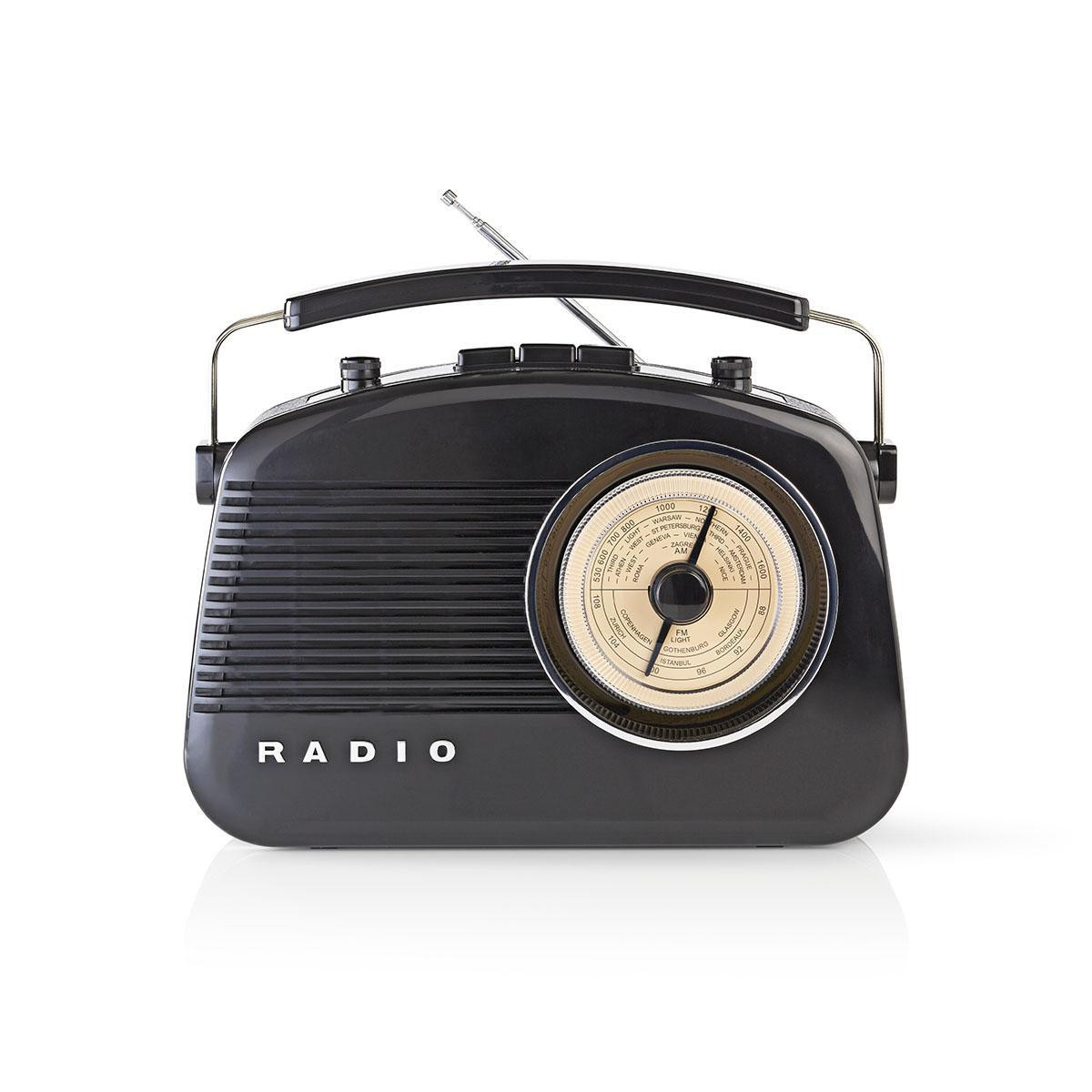 Radio AM/FM design rétro noir
