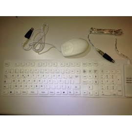 Clavier souple USB + Souris USB silicone blanc